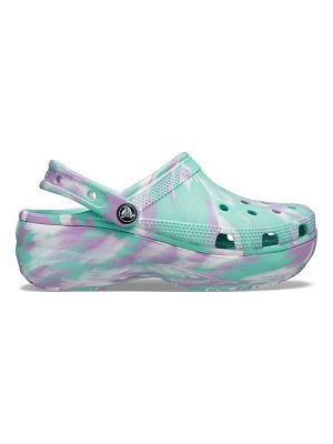 Crocs classic platform clogs in pistachio and lilac marble-multi