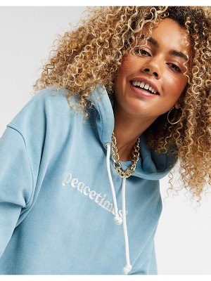 Crooked Tongues co-ord hoodie with peacetimes logo in blue wash