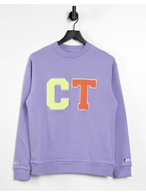 Crooked Tongues coordinating oversized sweatshirt with varsity in washed purple
