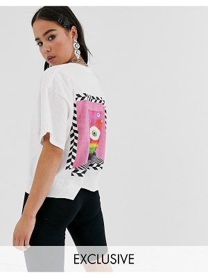 Crooked Tongues crop t-shirt with back print-white