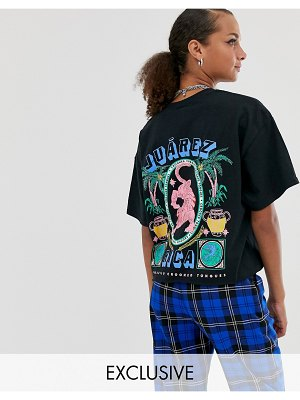 Crooked Tongues cropped oversized t-shirt with tropical tiger print