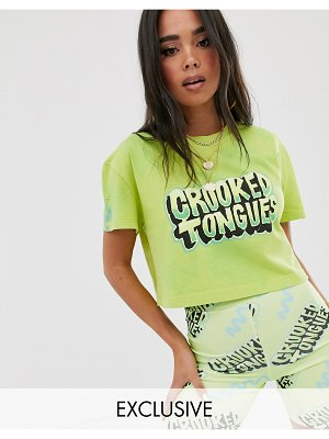 Crooked Tongues cropped t-shirt with front print in washed fluro