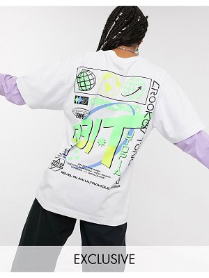 Crooked Tongues double layer long sleeve t-shirt with solar back print-multi