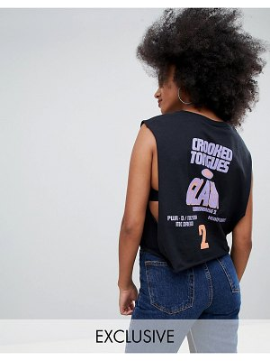 Crooked Tongues drop armhole cropped tank with sound clash print