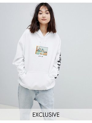 Crooked Tongues Oversized Hoodie In White With Postcard Print