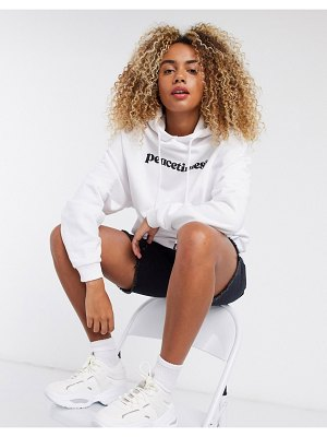 Crooked Tongues hoodie peacetimes print-white