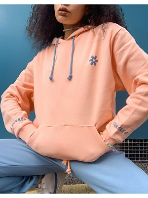 Crooked Tongues hoodie with floral back print in coral