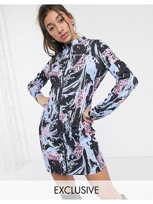 Crooked Tongues long sleeve mini dress with seam detail-black