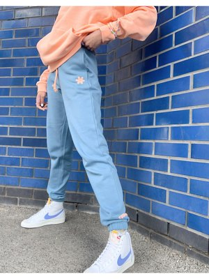 Crooked Tongues oversized coordinating sweatpants with logo print in washed blue-blues