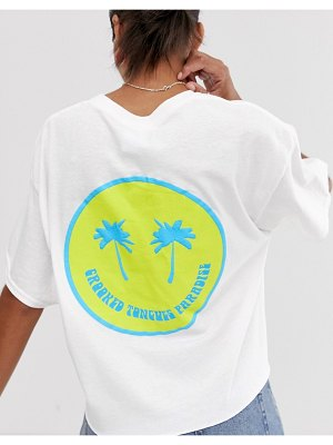 Crooked Tongues oversized cropped t-shirt with palm trees print-white