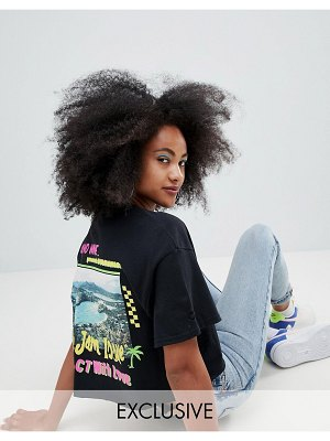 Crooked Tongues oversized cropped t-shirt with photographic