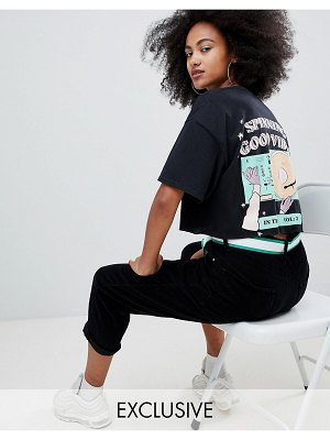 Crooked Tongues oversized cropped t-shirt with spinning good vibes print