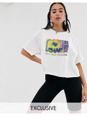 Crooked Tongues oversized cropped t-shirt with sunflower lo-fi print-white