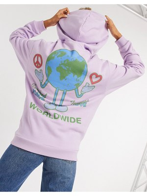 Crooked Tongues oversized hoodie stay cool world graphic in wash-pink