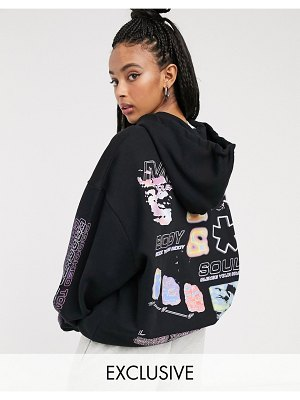 Crooked Tongues oversized hoodie with back print in black