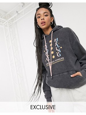 Crooked Tongues oversized hoodie with cosmic print-gray