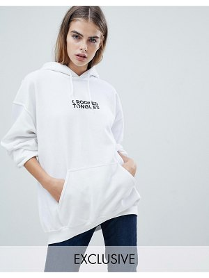 Crooked Tongues oversized hoodie with logo print in white