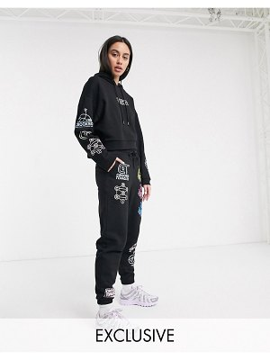 Crooked Tongues oversized hoodie with mixed logo print two-piece-black