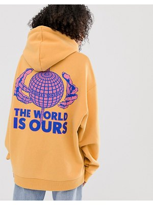 Crooked Tongues oversized hoodie with this world is ours print