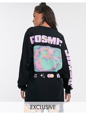 Crooked Tongues oversized long sleeve t-shirt with cosmic print