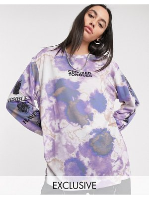 Crooked Tongues oversized long sleeve t shirt with crystal print-multi