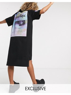 Crooked Tongues oversized midi t-shirt dress with fantastique print-black