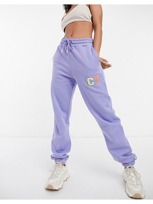 Crooked Tongues oversized sweatpants with varsity motif