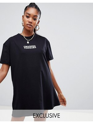 Crooked Tongues oversized t-shirt dress with logo print