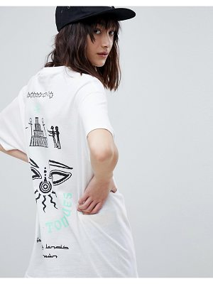 Crooked Tongues Oversized T-Shirt In White With Back Symbol Print