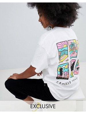 Crooked Tongues oversized t-shirt in white with grid print