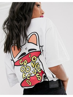 Crooked Tongues oversized t-shirt with cat back print-green
