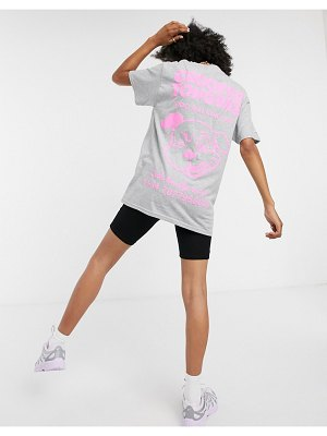 Crooked Tongues oversized t-shirt with dog hotline graphic-grey