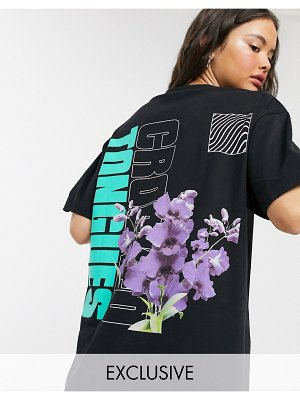 Crooked Tongues oversized t-shirt with floral print