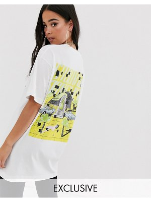 Crooked Tongues oversized t-shirt with miami beach print-black