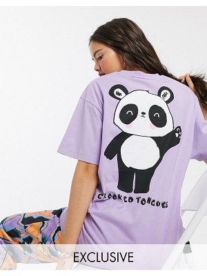 Crooked Tongues oversized t-shirt with panda print-multi