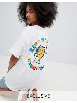 Crooked Tongues oversized t-shirt with rice n peas print