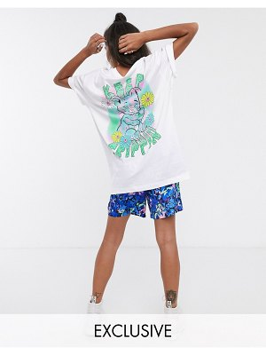 Crooked Tongues oversized t-shirt with trippin bear print
