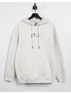 Crooked Tongues super oversized hoodie with logo in ice heather