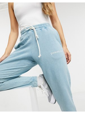 Crooked Tongues sweatpants with peacetimes logo in wash matching set-multi