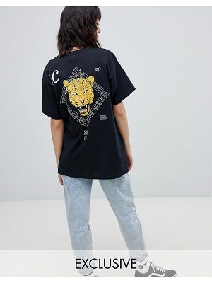 Crooked Tongues oversized t-shirt in black with cheetah back print