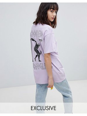 Crooked Tongues oversized t-shirt in purple with Hercules back print
