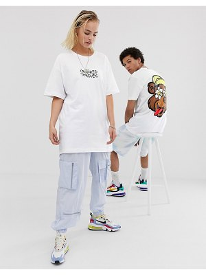 Crooked Tongues unisex oversized t-shirt with back bear and daisy print-white