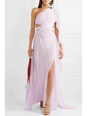 Cult Gaia cosette one-shoulder cutout crinkled-chiffon gown