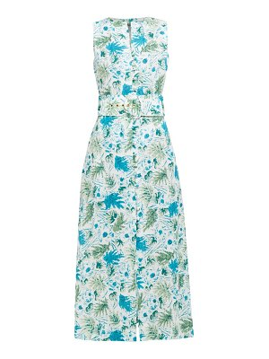 Cult Gaia gia leaf print linen midi dress