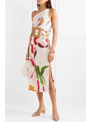 Cult Gaia louise one-shoulder cutout floral-print linen midi dress