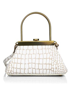 Cult Gaia mini estelle croc-embossed leather top handle bag