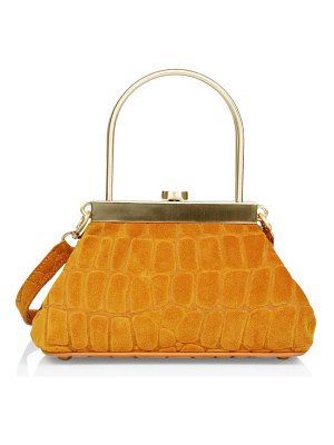 Cult Gaia mini estelle croc-embossed suede top handle bag