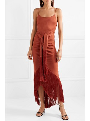 Cult Gaia natalia tie-front fringed metallic satin-jersey maxi dress