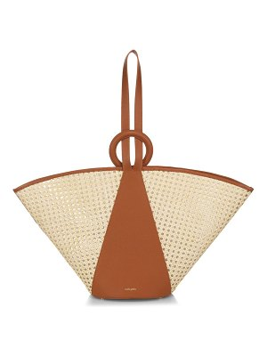 Cult Gaia roksana leather-trimmed rattan fan tote