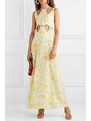 Cult Gaia sabine cutout printed linen maxi dress